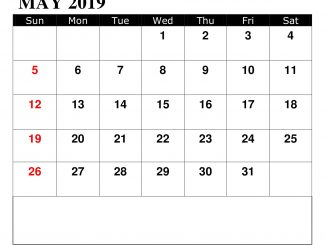 May 2019 With Federal Holidays Calendar