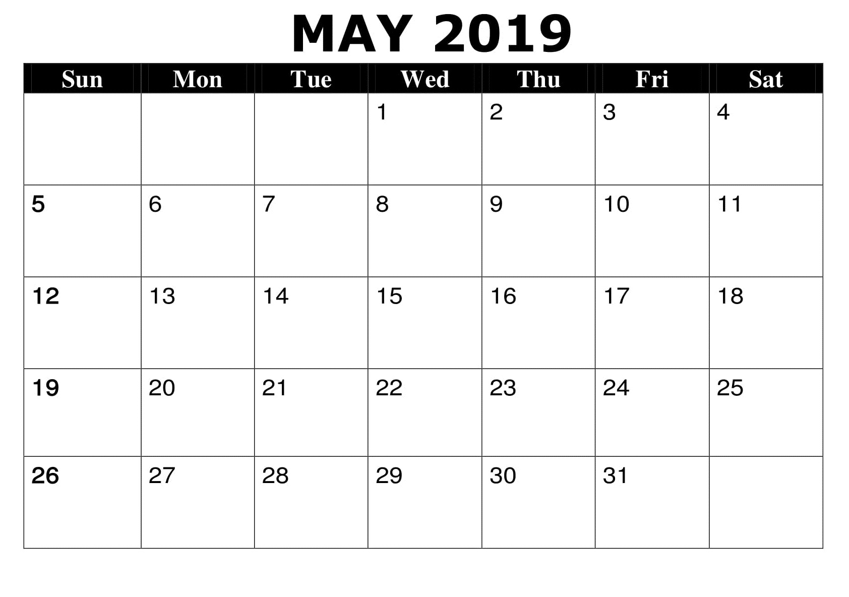 May 2019 Word Printable Calendar