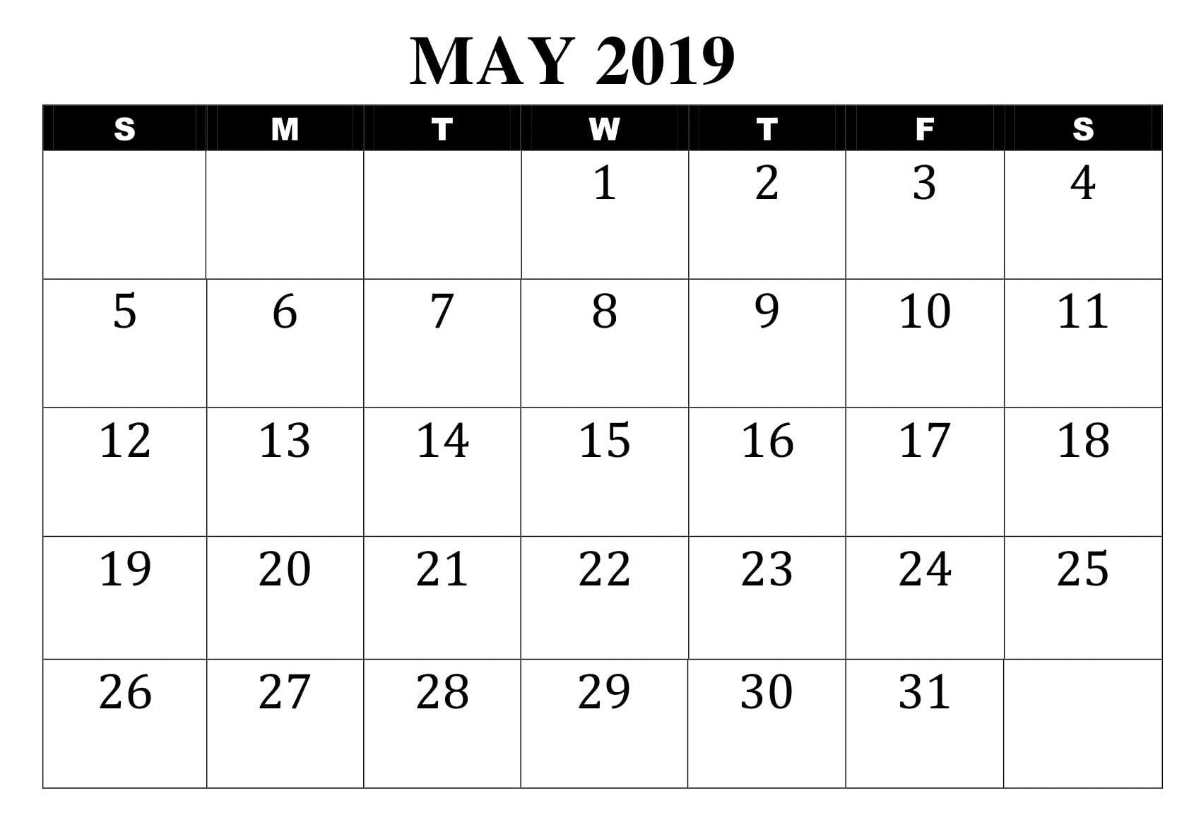 May Blank 2019 Calendar Document