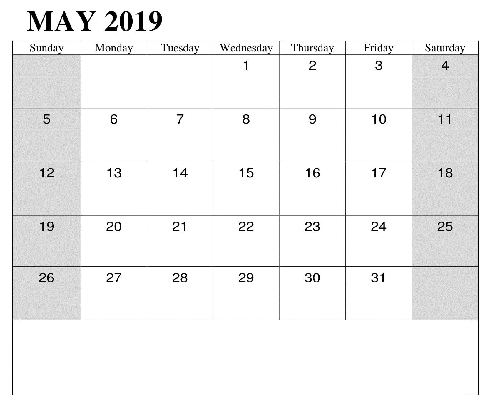 May Monthly 2019 Calendar Template
