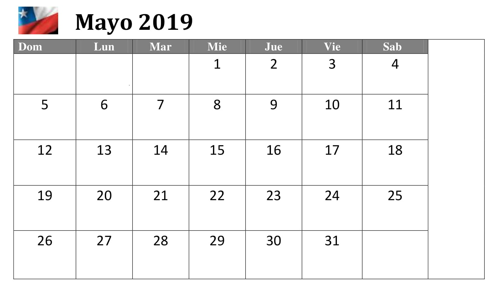 Mayo 2019 Chile Word Calendario