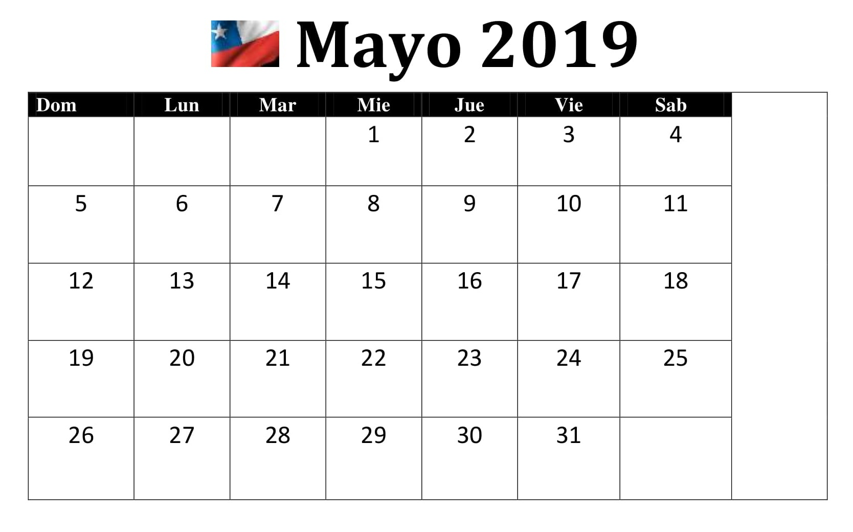 Mayo Calendario 2019 Chile Excel