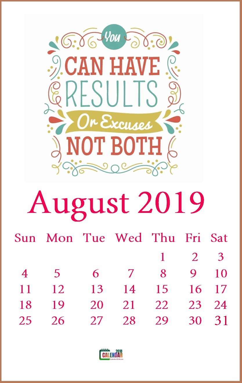 Motivational August 2019 Calendar Template