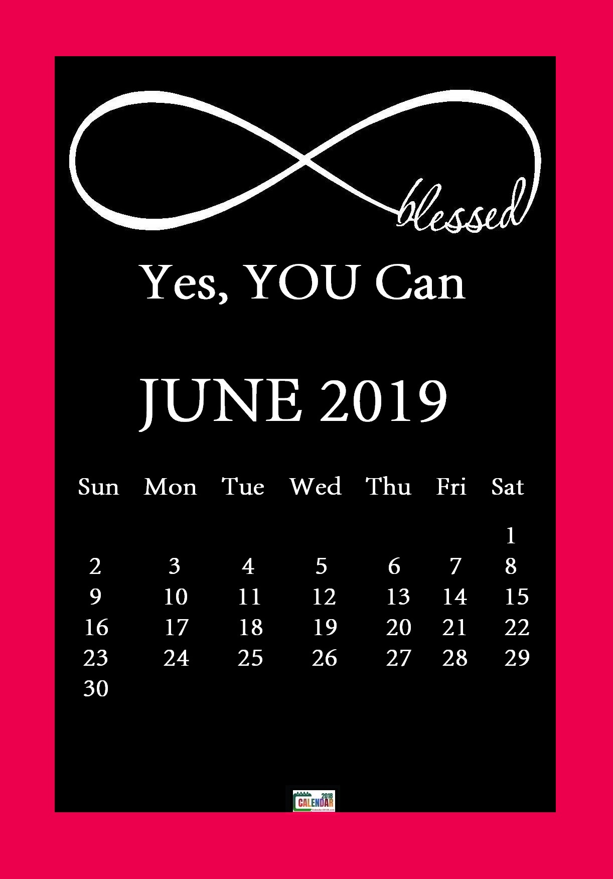Motivational June 2019 Desktop Calendar Background