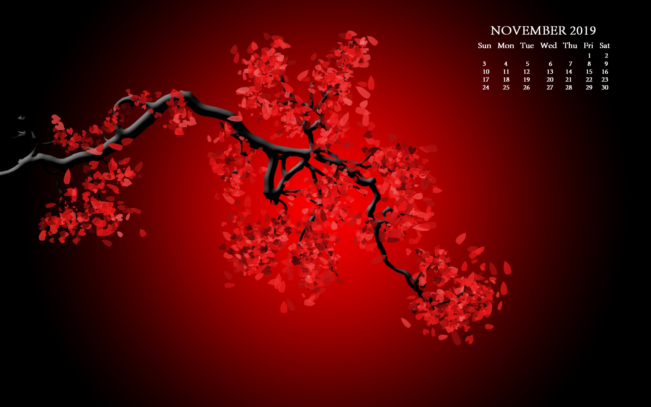 November 2019 HD Desktop Calendar Wallpaper