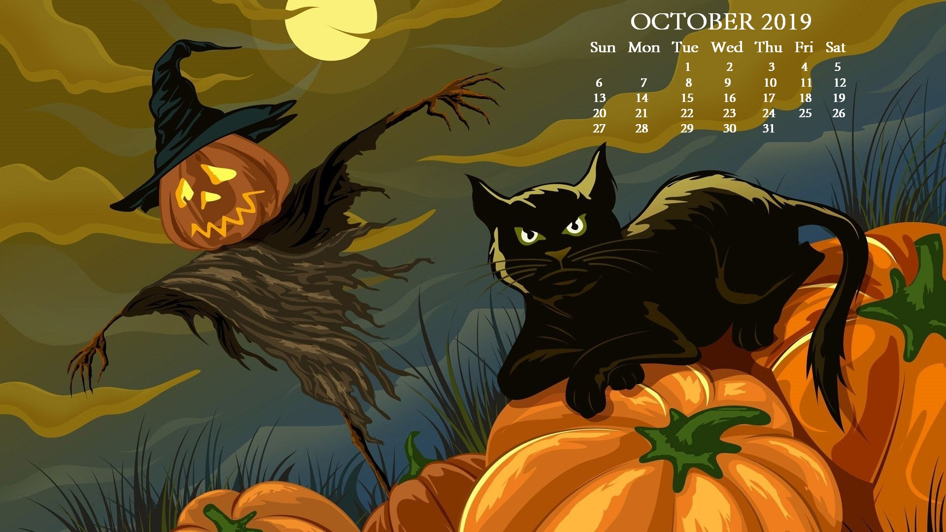 October 2019 HD Desktop Calendar Wallpaper