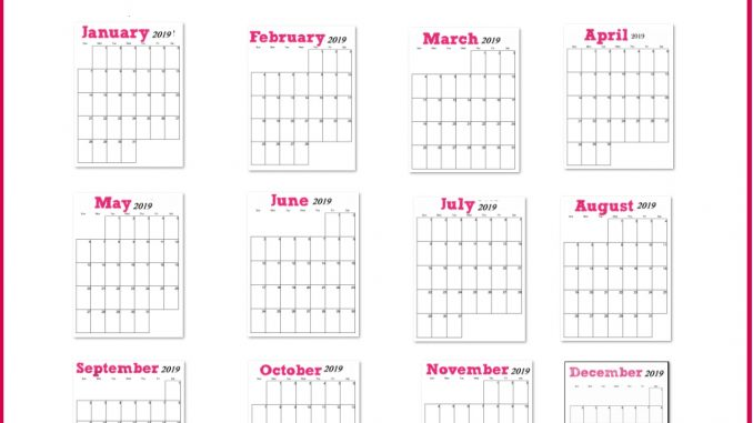 Printable 2019 Vertical Monthly Calendar