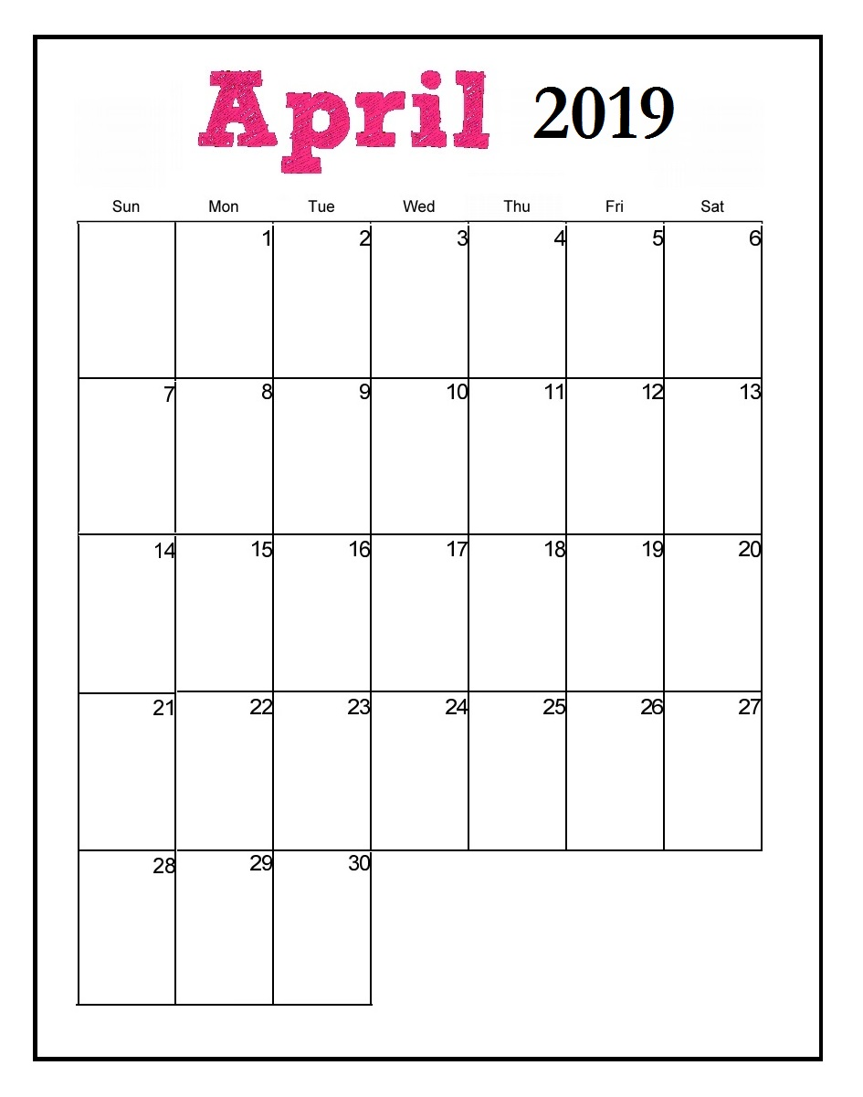 Printable April 2019 Vertical Calendar Download Free