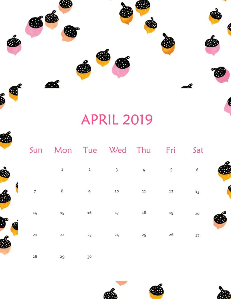 Printable April 2019 Wall Calendar