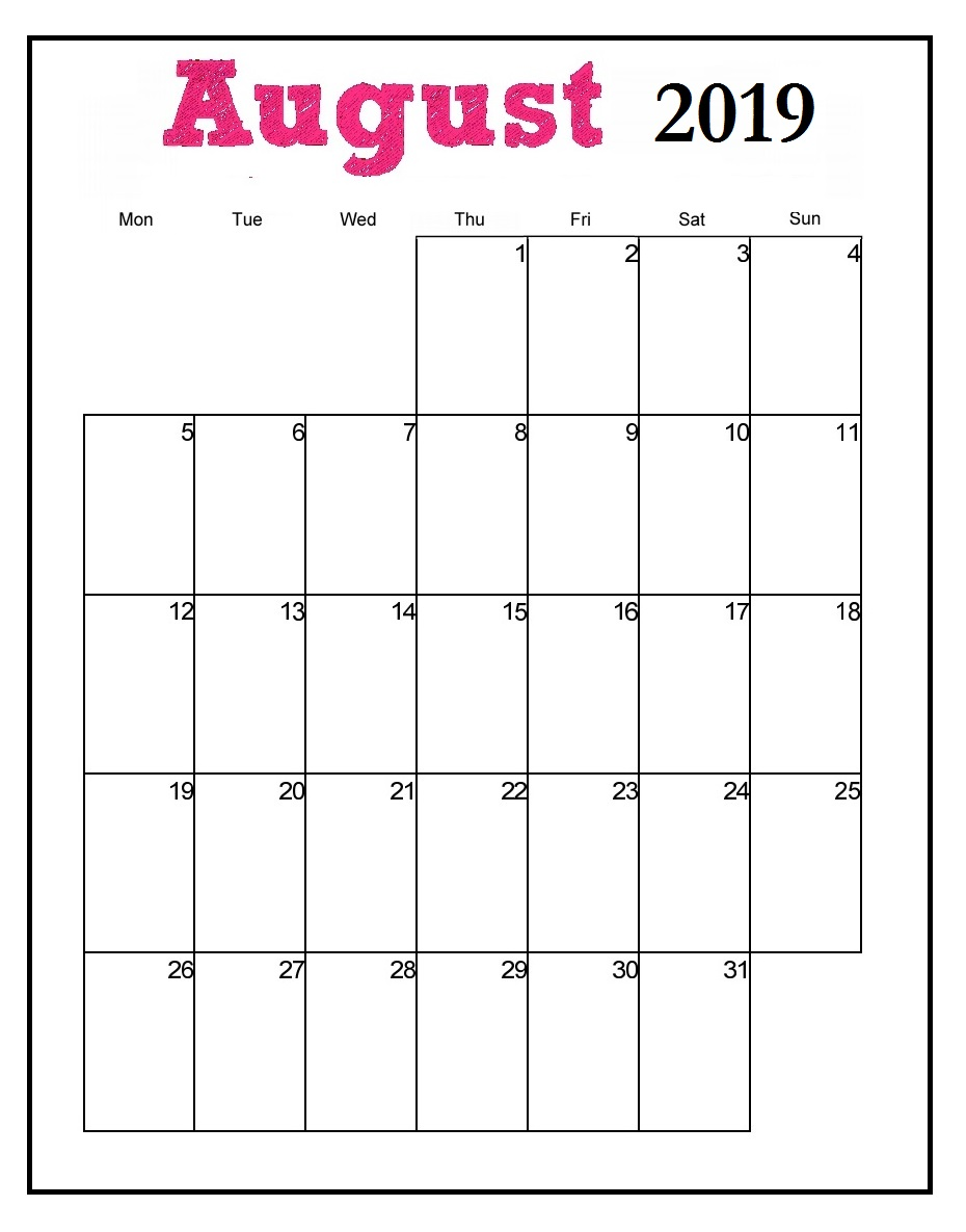 Printable August 2019 Vertical Calendar