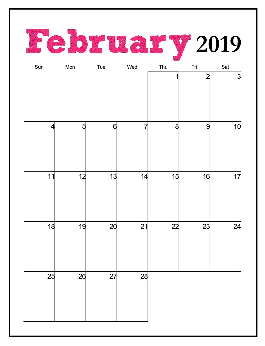 Printable February 2019 Vertical Calendar