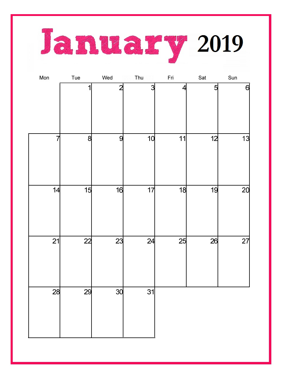 Printable January 2019 Vertical Calendar