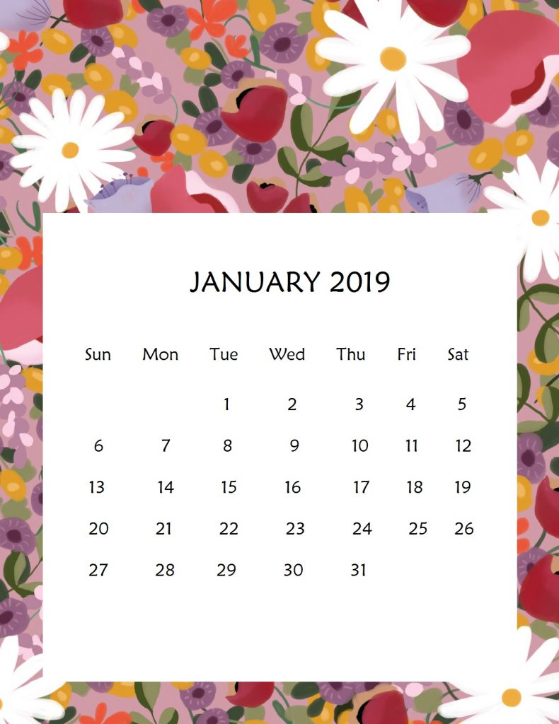 Printable January 2019 Wall Calendar