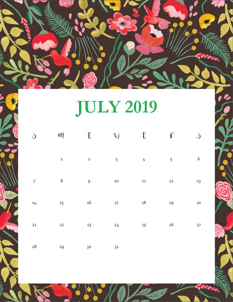 Printable July 2019 Wall Calendar