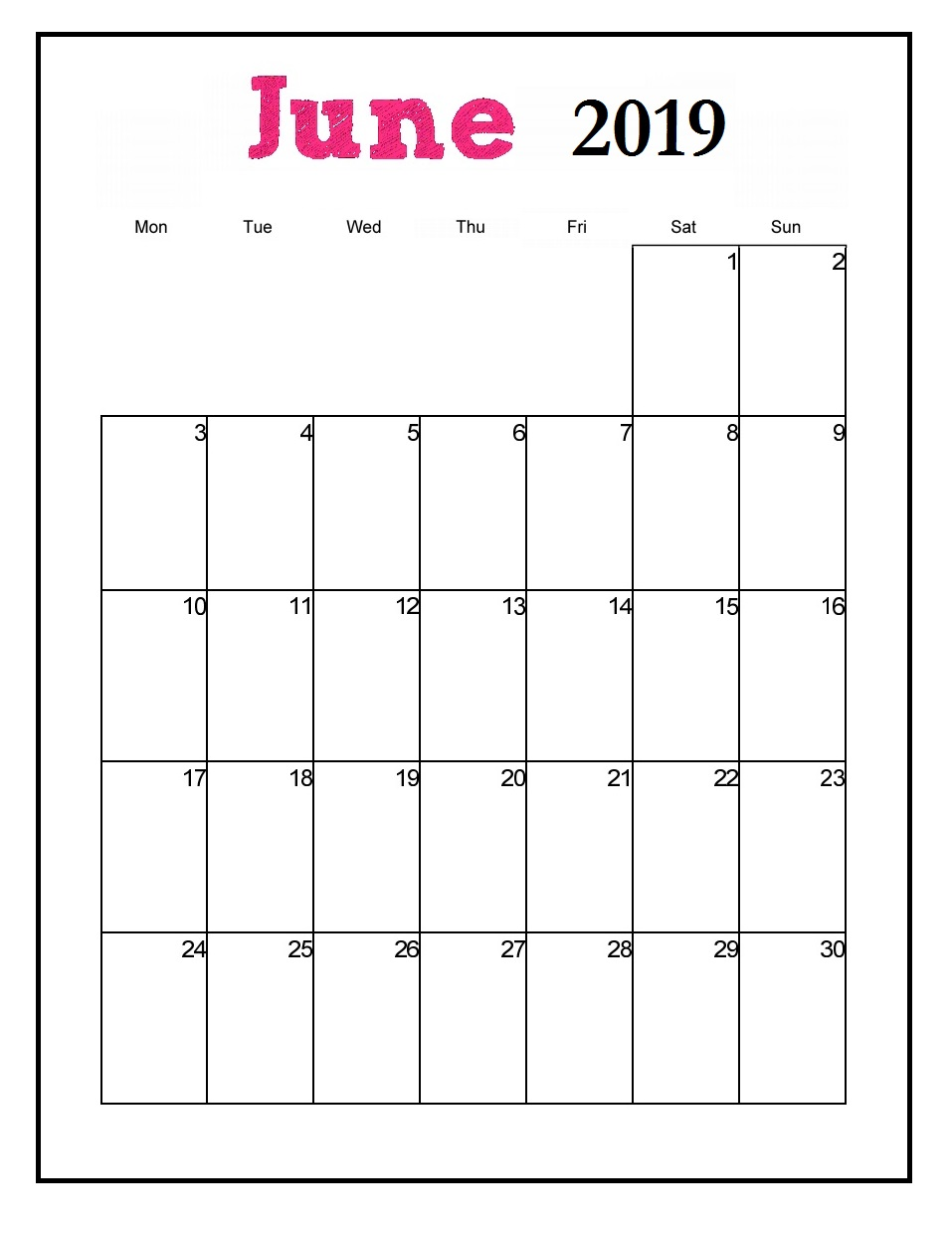 Printable June 2019 Vertical Calendar