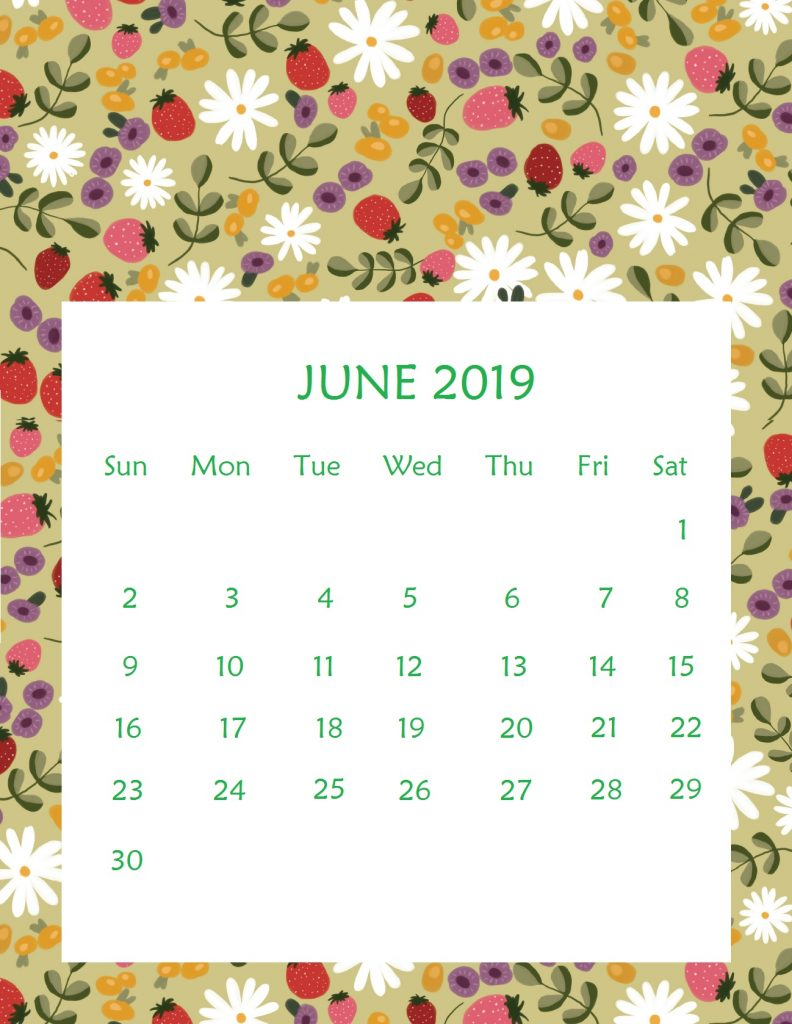 Printable June 2019 Wall Calendar