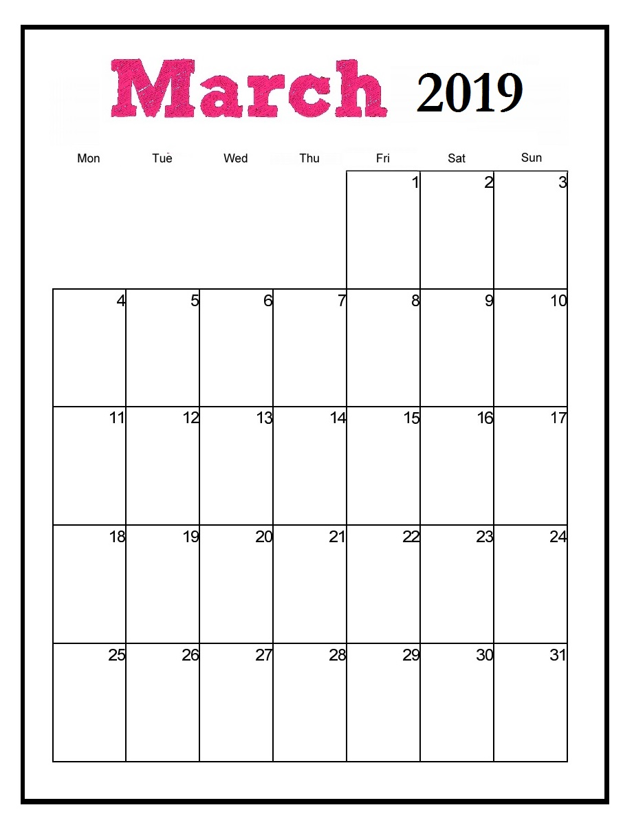 Printable March 2019 Vertical Calendar