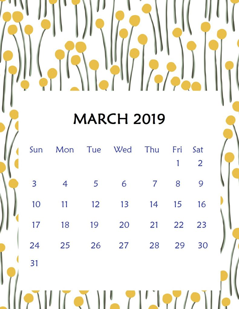 Printable March 2019 Wall Calendar