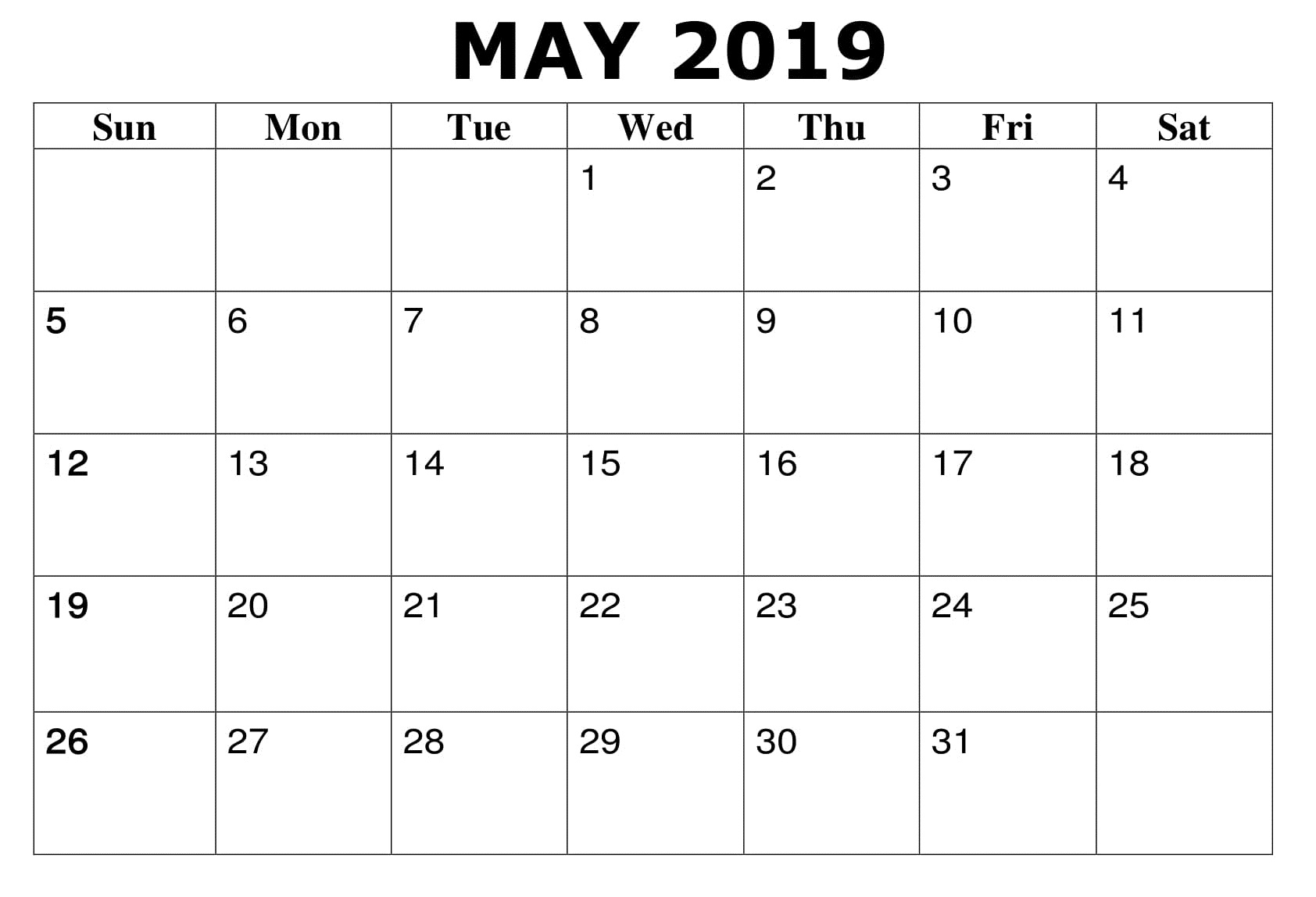 Printable May 2019 Calendar Monthly