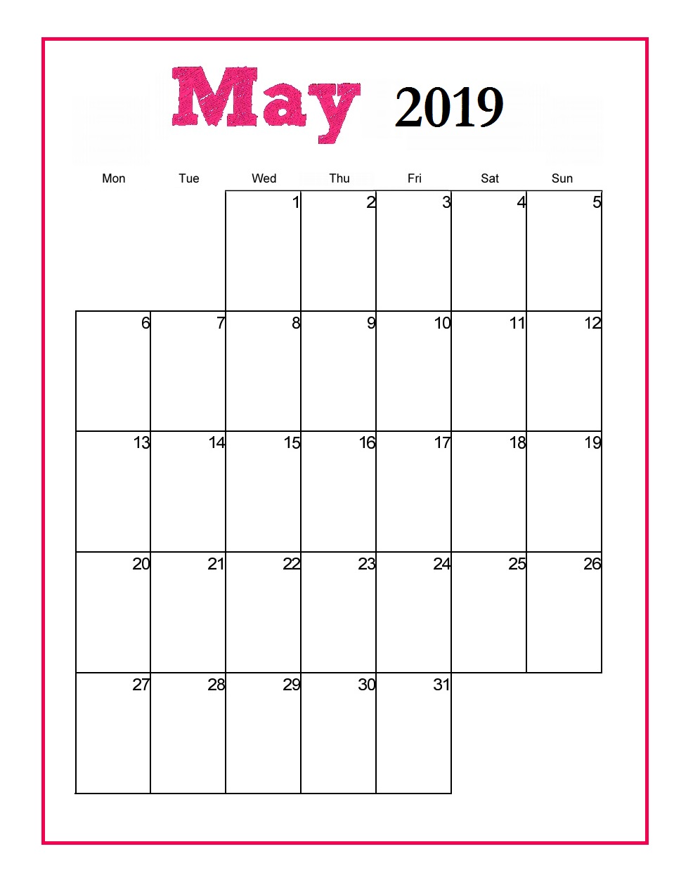 Printable May 2019 Vertical Calendar