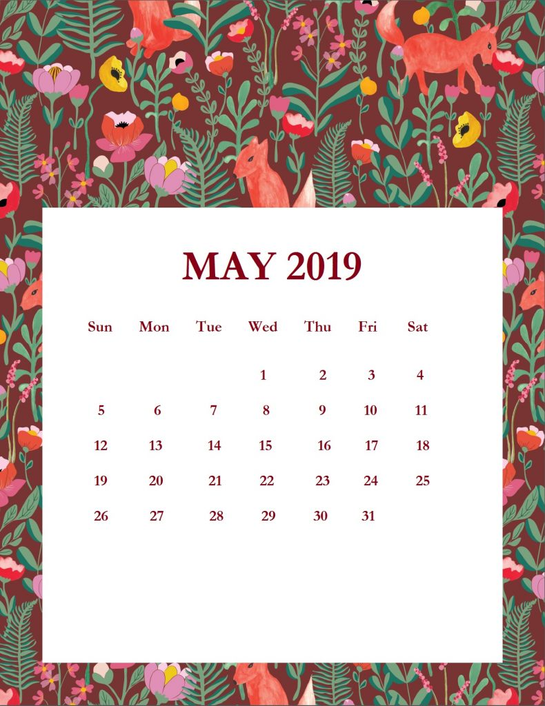 Printable May 2019 Wall Calendar