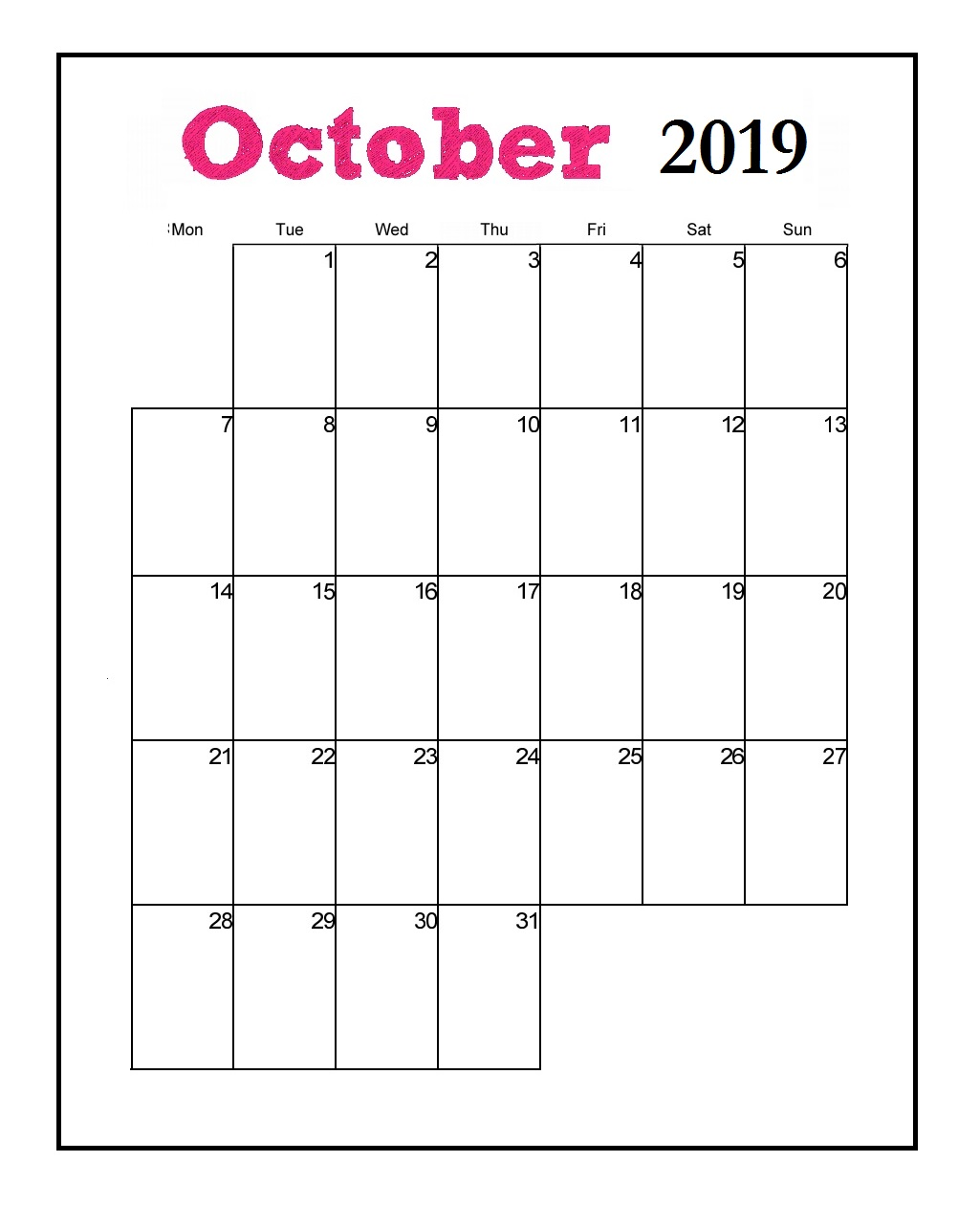 Printable October 2019 Vertical Calendar
