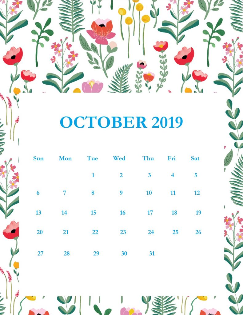 Printable October 2019 Wall Calendar