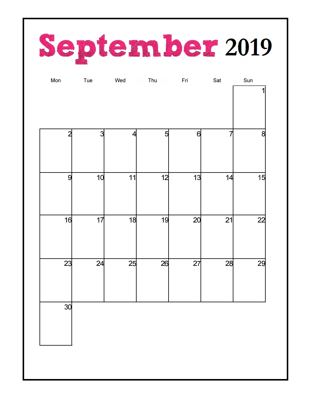 Printable September 2019 Vertical Calendar