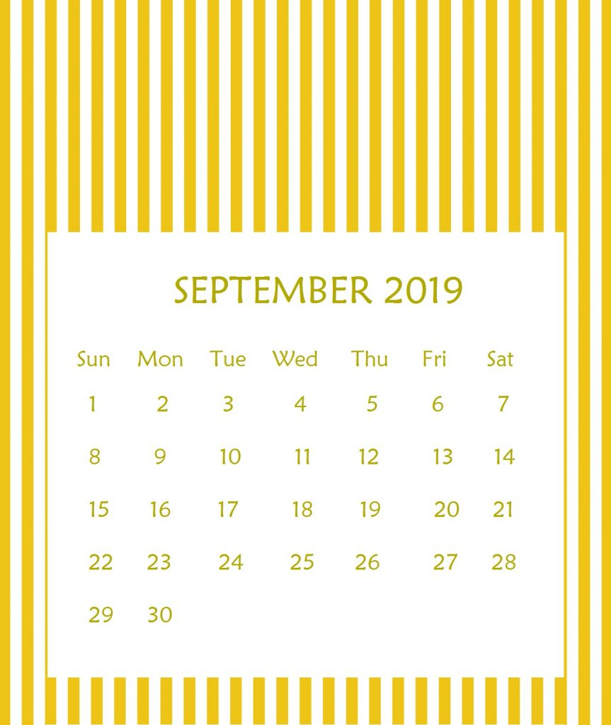 Printable September 2019 Wall Calendar