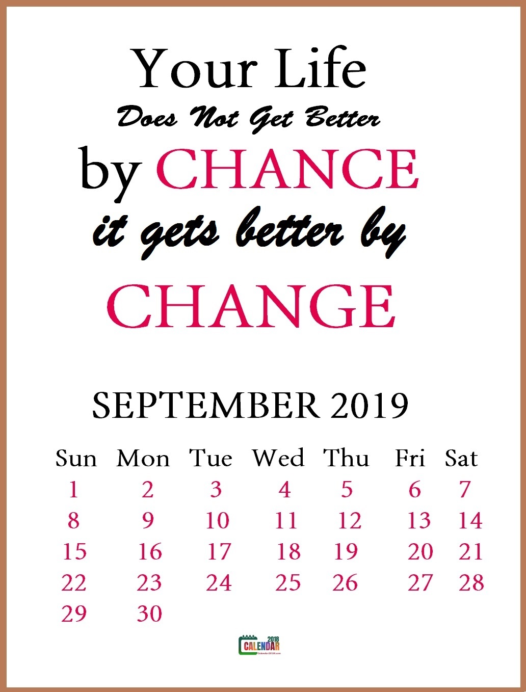 September 2019 Motivational Quotes Calendar