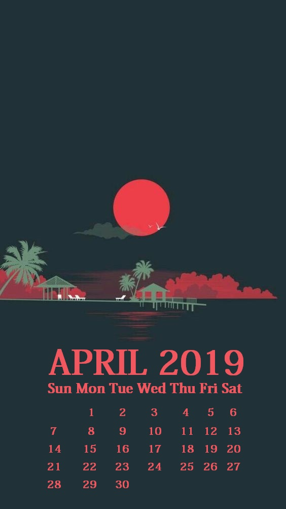 iPhone April 2019 Calendar Wallpaper