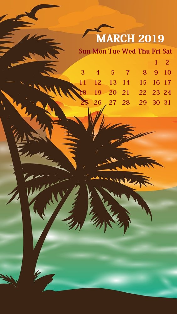 iPhone March 2019 Calendar Wallpaper