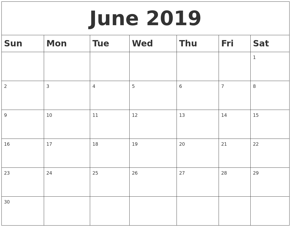 Blank Calendar Pages June 2019