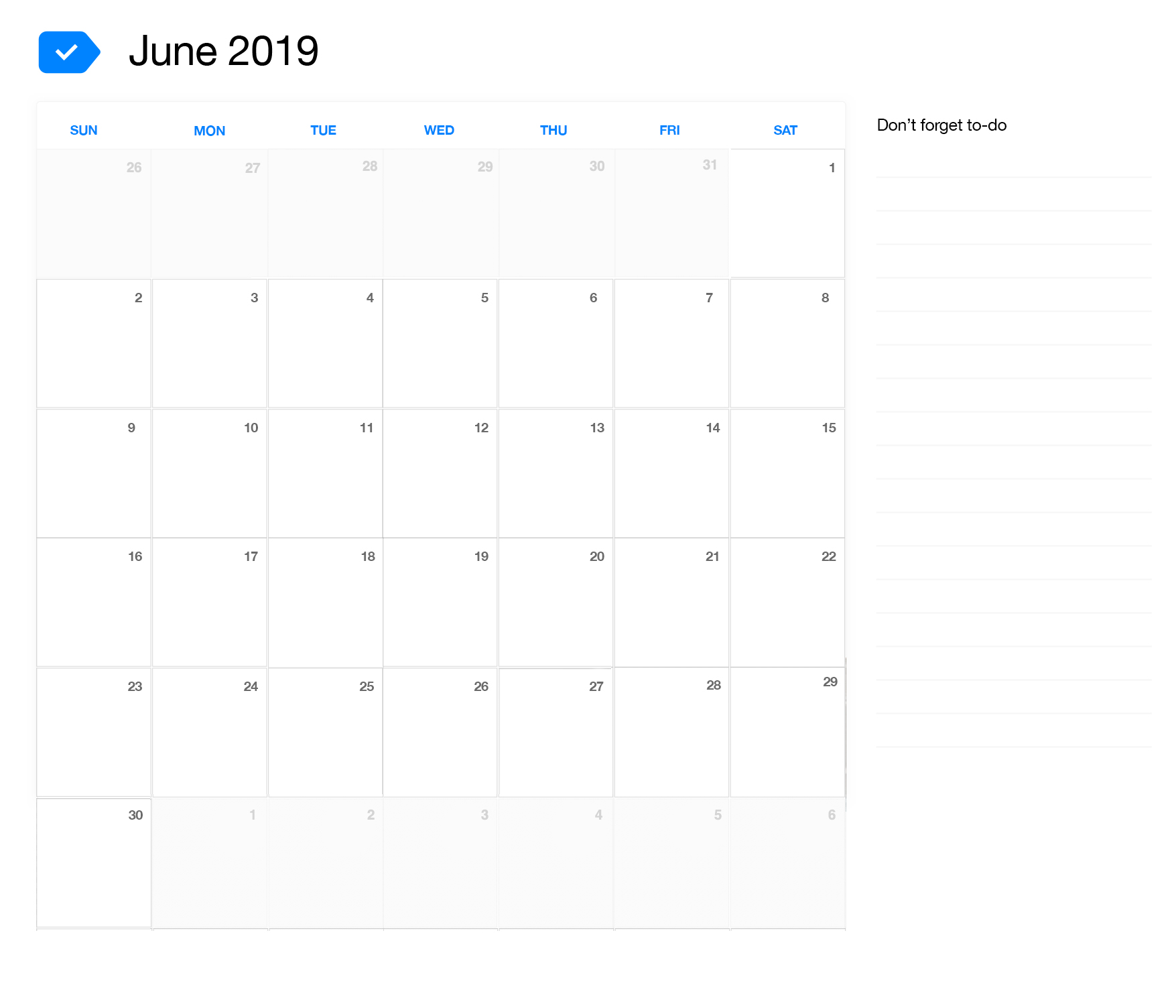 Blank June 2019 Printable Calendar.Blank June 2019 Calendar Template Download Free Printable Calendar