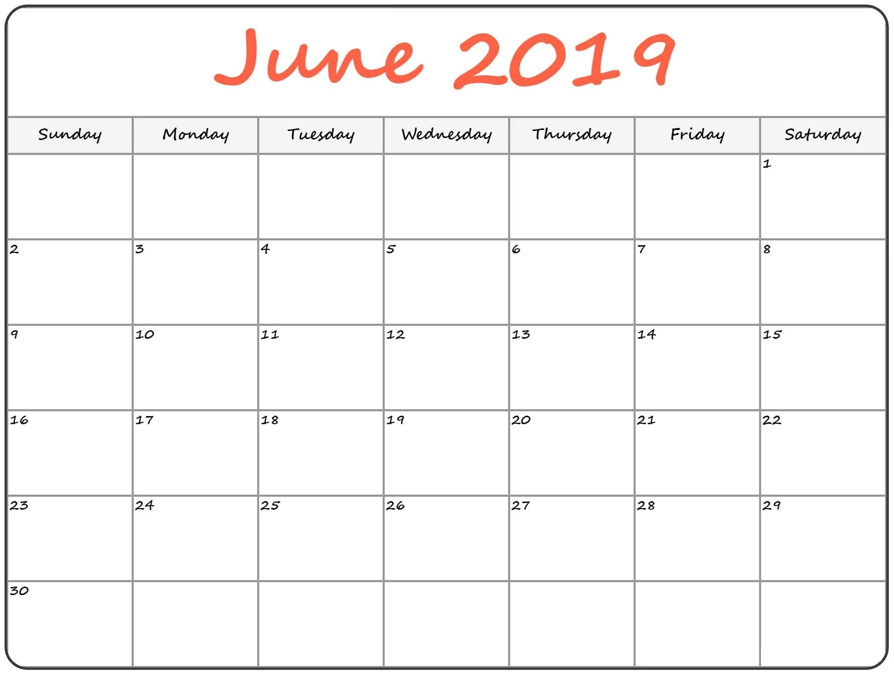 Calendar Of June.June 2019 Printable Calendar Template