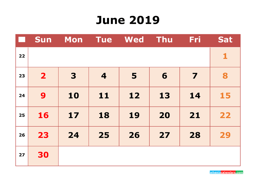 Cute June 2019 Printable Calendar