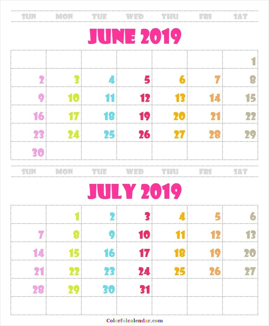 Cute June July 2019 Calendar Template
