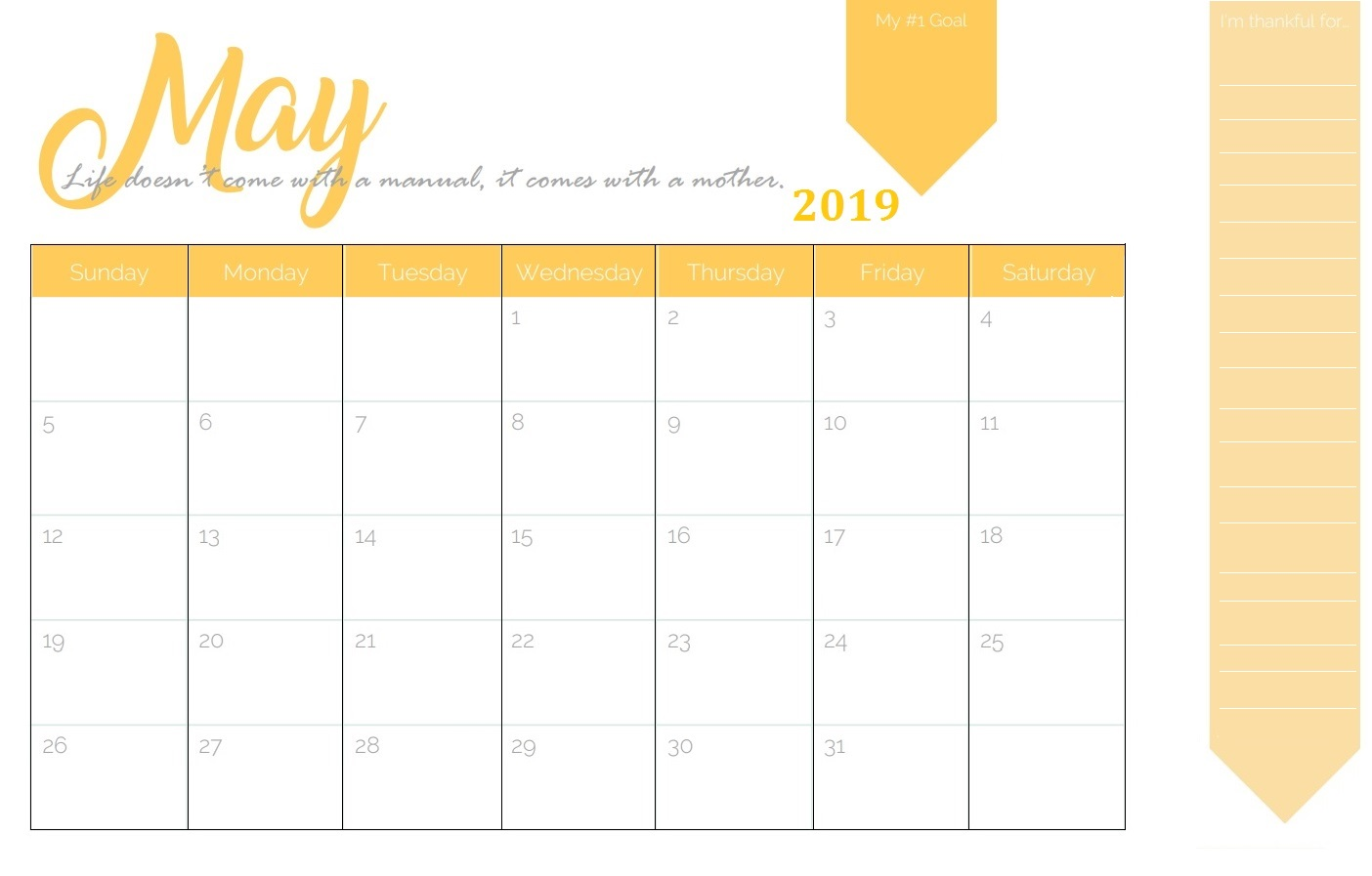 Cute May 2019 Calendar Design