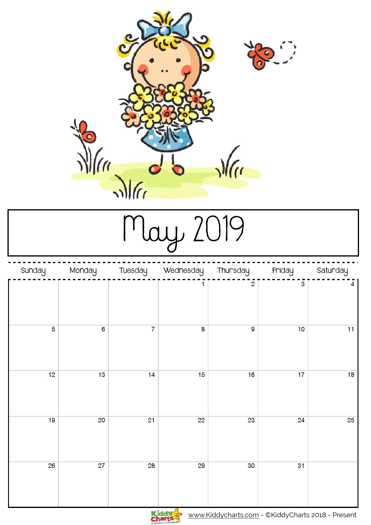 Cute May 2019 Calendar Printable