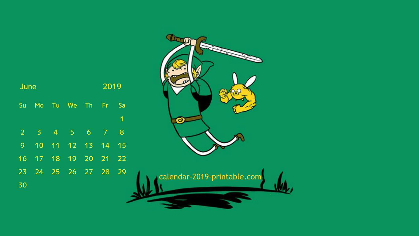 Desktop Calendar for June 2019
