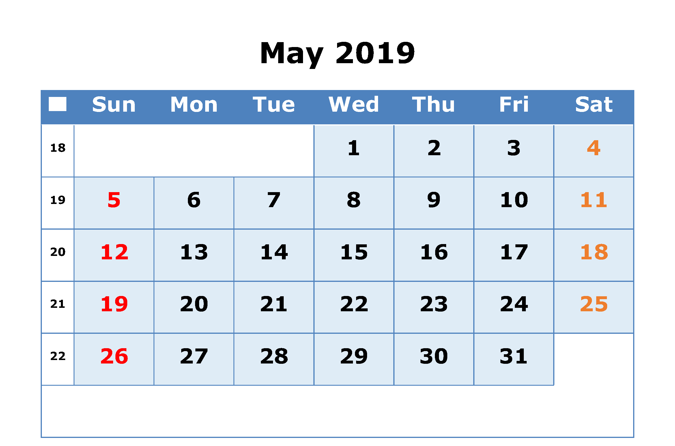 Editable May 2019 Calendar Blank Template