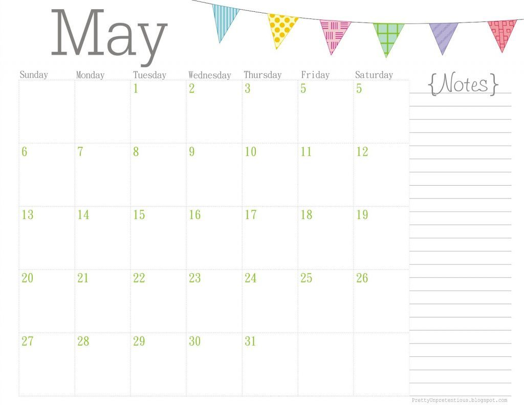 Editable May 2019 Calendar With Notes Fillable