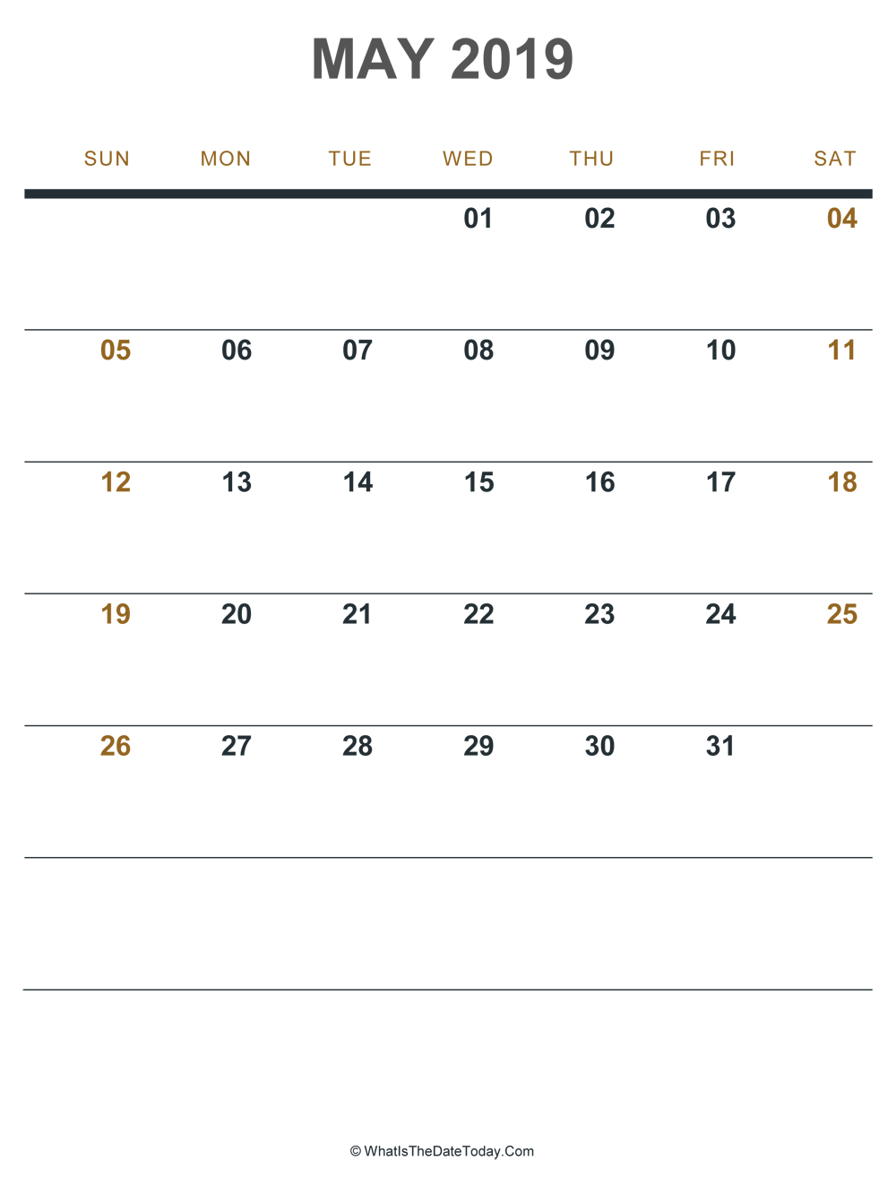 Fillable May 2019 Calendar To Print