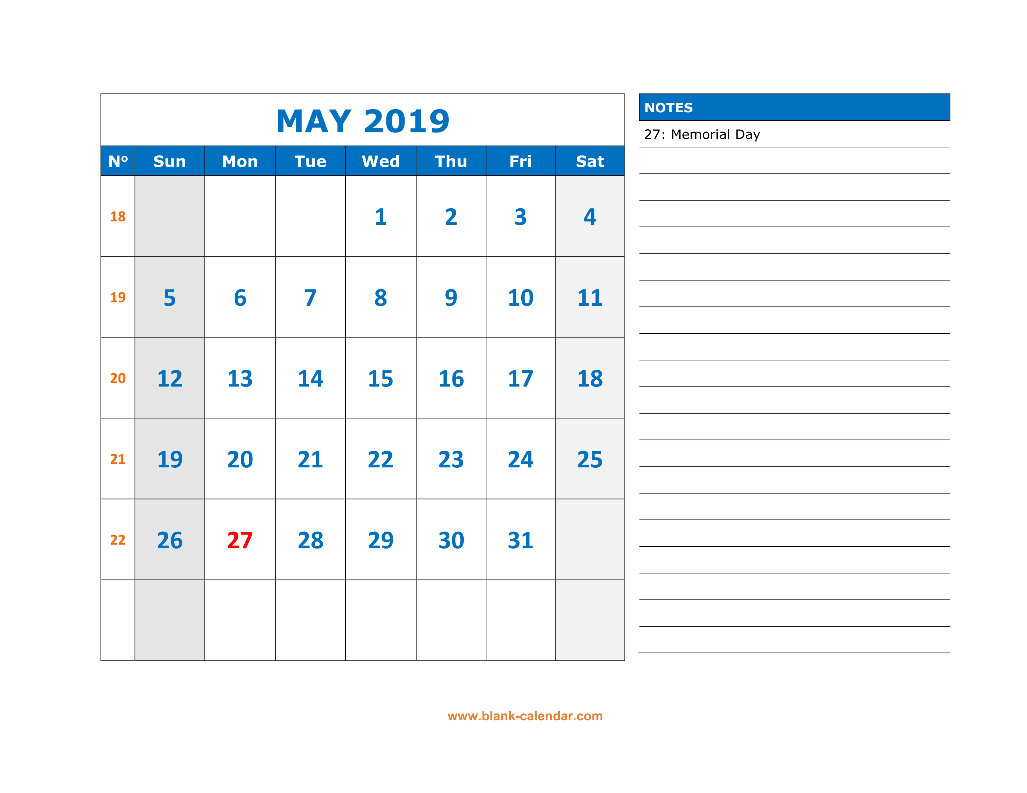 Fillable May Calendar 2019 To Print