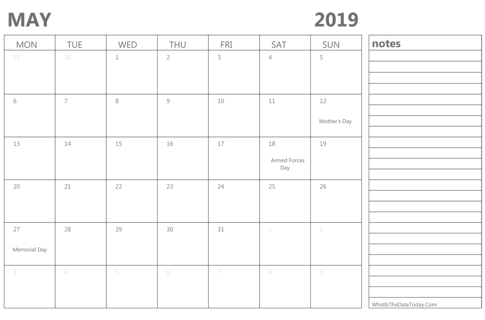Fillable may 2019 Calendar with Holidays and Notes