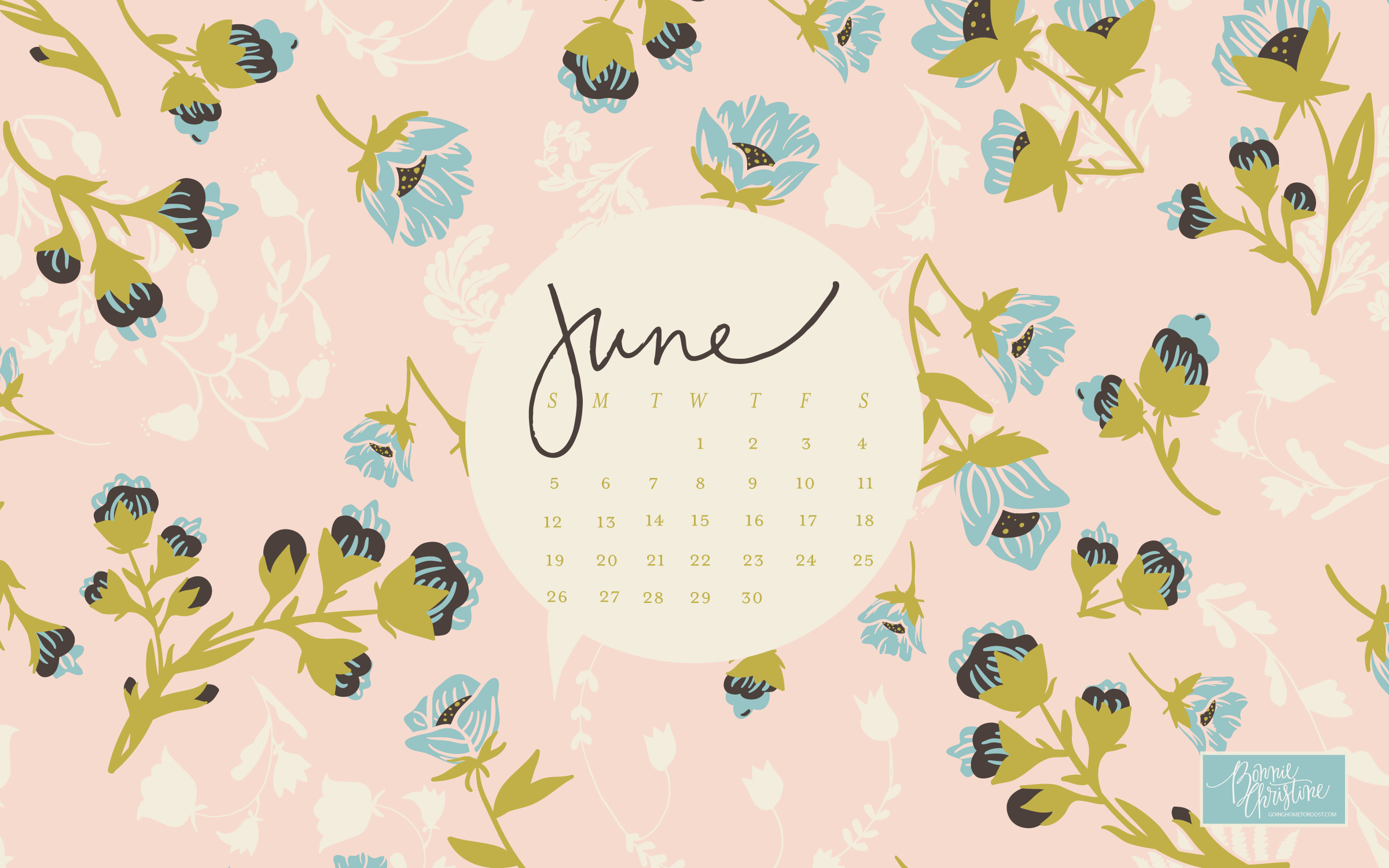 Floral June 2019 Desktop Calendar Wallpaper