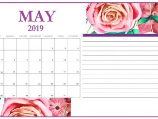 Floral May 2019 Calendar Cute with Notes