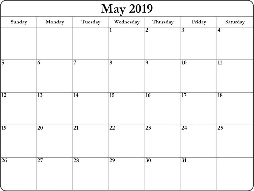 Free Download May Calendar 2019