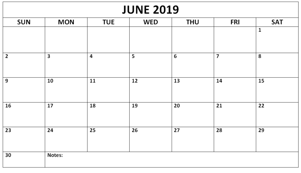 image about Calendar June Printable named Absolutely free Printable Blank Calendar June 2019 - Obtain Absolutely free