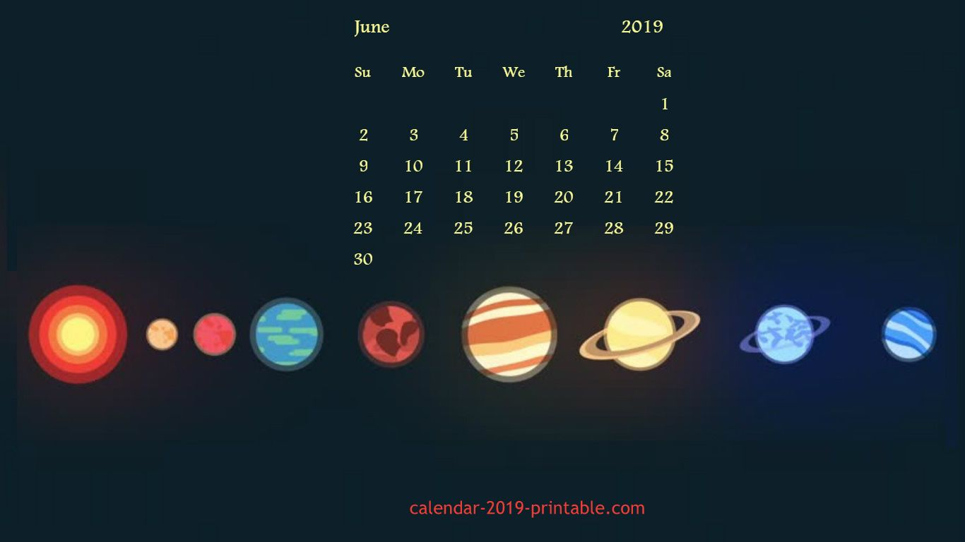 June 2019 Calendar Desktop Wallpaper